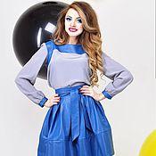 Одежда ручной работы. Ярмарка Мастеров - ручная работа Комплект  синий Юбка +Блуза от TAIS FEKO коллекция ECO. Handmade.