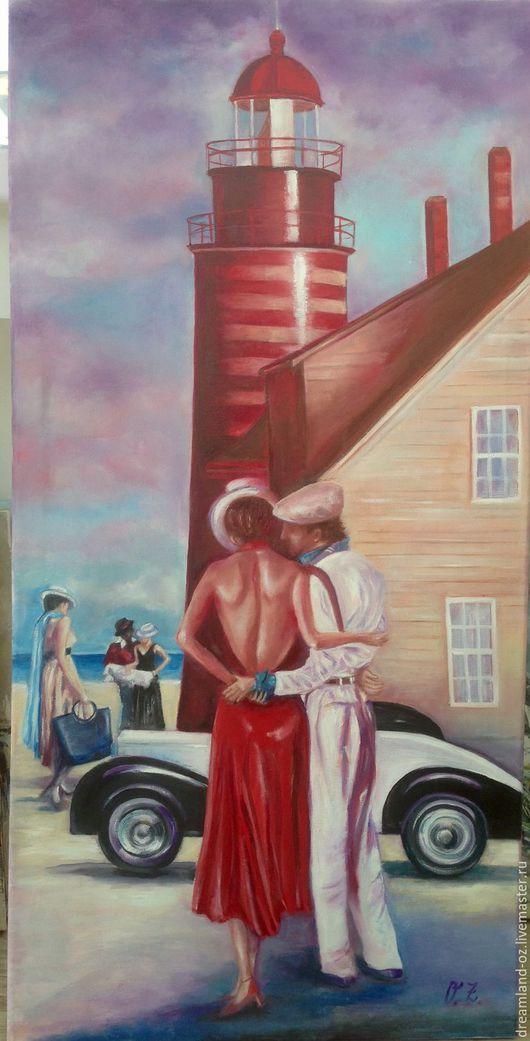 """Люди, ручной работы. Ярмарка Мастеров - ручная работа. Купить Картина маслом """" Танго уходящего лета"""". Handmade. Фиолетовый"""