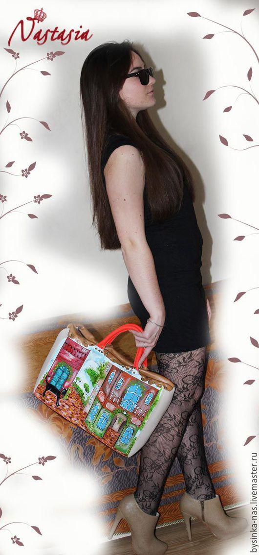 Женские сумки ручной работы. Ярмарка Мастеров - ручная работа. Купить Женская Кожаная сумка Кошка на прогулке тёмная. Handmade.