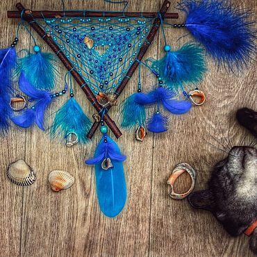"""Феншуй ручной работы. Ярмарка Мастеров - ручная работа Ловец снов """"Голубой перевернутый Вигвамчик"""". Handmade."""