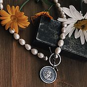 Украшения handmade. Livemaster - original item Necklace silver from natural stones, pearls with coin. Handmade.