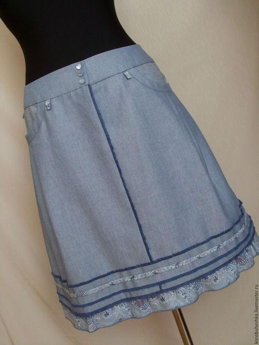 Юбки ручной работы. Ярмарка Мастеров - ручная работа. Купить юбка из  джинсовой ткани. Handmade. Серый, юбка с оборками