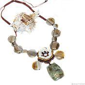 Украшения handmade. Livemaster - original item Knitted necklace with grey agate Charm. Handmade.