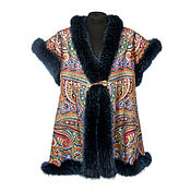Одежда handmade. Livemaster - original item A top of pavlovoposadskaja shawl with fur Fox mittens as a gift). Handmade.