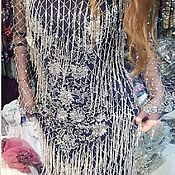 Платья ручной работы. Ярмарка Мастеров - ручная работа Длинное вечернее платье с бахромой из бисера. Handmade.