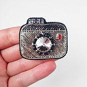 Украшения handmade. Livemaster - original item Brooch Camera, brooch beaded in the form of a camera, fashion brooch. Handmade.