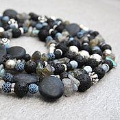 Работы для детей, handmade. Livemaster - original item Long black beads with volcanic lava, labradorite and onyx. Handmade.