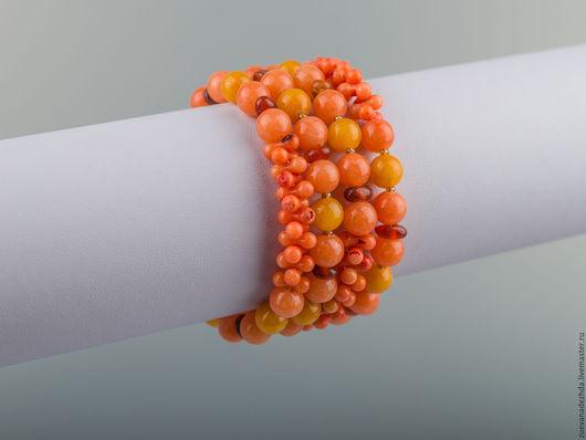 Браслеты ручной работы. Ярмарка Мастеров - ручная работа. Купить Браслет '' Оранжевое небо,  оранжевое море... ''. Handmade.