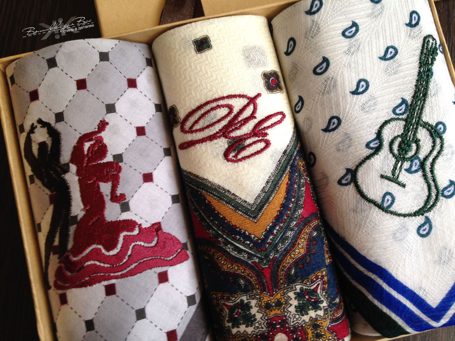 ... handkerchief bow men's embroidered initials ...