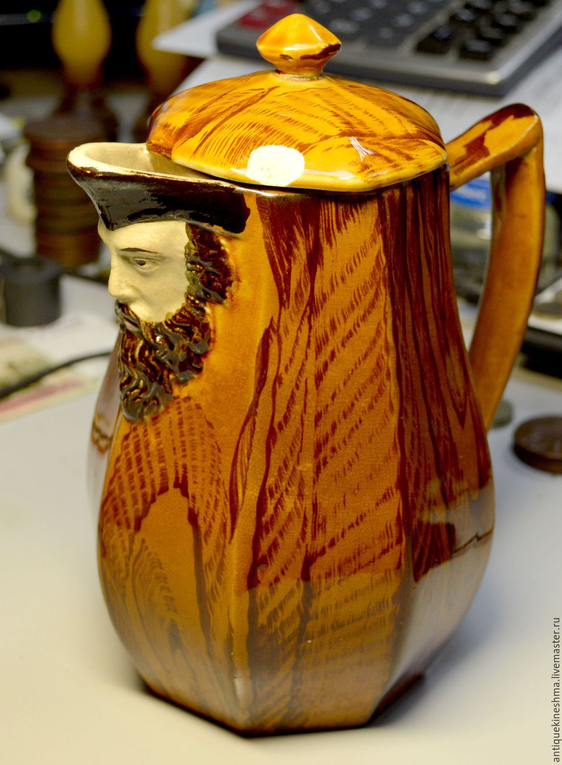 Jug with the face of a sailor Kuznetsov, Vintage interior, Kineshma,  Фото №1