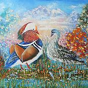Картины и панно handmade. Livemaster - original item Mandarin Ducks Original oil Painting on canvas in handmade. Handmade.