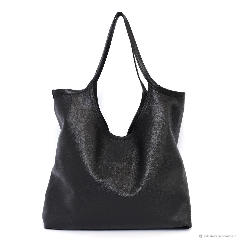 Black leather shopping Bag t shirt Bag bag string Bag large, Shopper, Moscow,  Фото №1