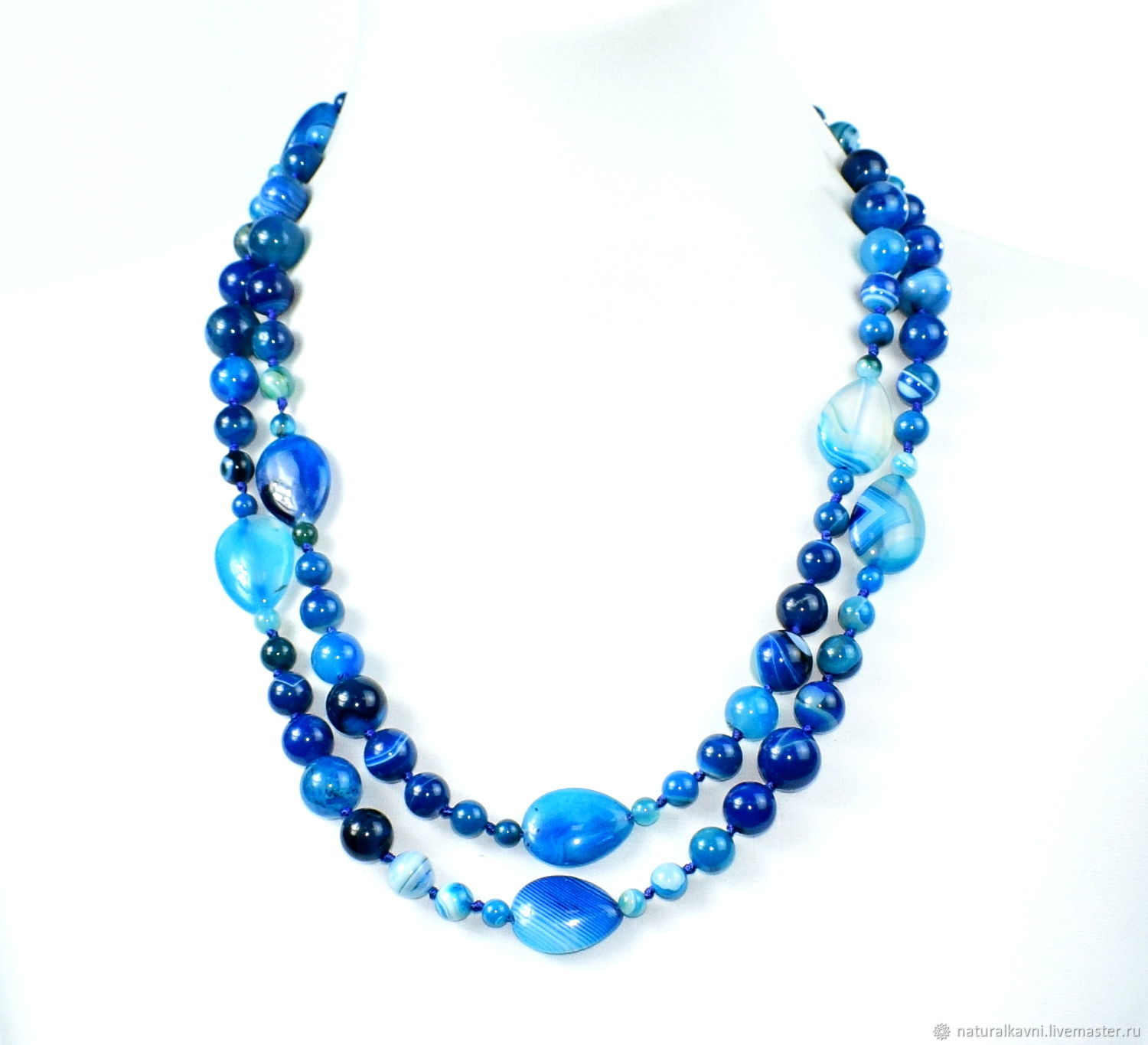 Long necklace with natural blue agate, Beads2, Moscow,  Фото №1
