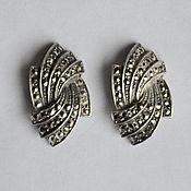 АРТ ДЕКО элегантные серебряные винтажные серьги гвоздики