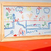 Картины ручной работы. Ярмарка Мастеров - ручная работа Картина на стекле с детским рисунком.. Handmade.
