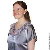 handmade. Livemaster - original item Tunic of silk with felted yoke. Handmade.