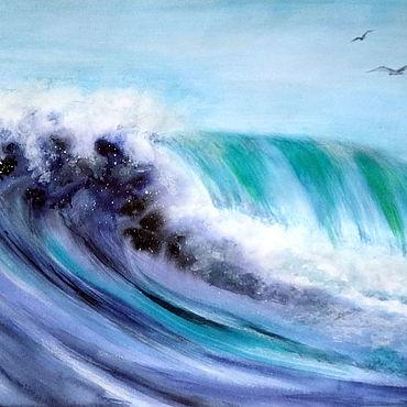 Картины и панно ручной работы. Ярмарка Мастеров - ручная работа Картина Море Морской пейзаж акварелью А3, яркая морская волна. Handmade.
