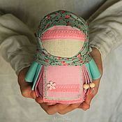 Куклы и игрушки handmade. Livemaster - original item Krupenichka Tenderness of dawn, Russian folk doll, mint pink. Handmade.
