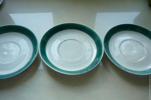 Винтажная посуда. Ярмарка Мастеров - ручная работа. Купить Блюдца, 3 штуки, 50-е годы.. Handmade. Белый, фарфор