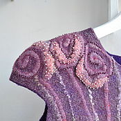 Одежда ручной работы. Ярмарка Мастеров - ручная работа Туника валяная Пурпур Валяный жилет. Handmade.