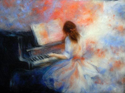 """Люди, ручной работы. Ярмарка Мастеров - ручная работа. Купить Картина из шерсти """"Пианистка"""". Handmade. Комбинированный, картина пианистка"""
