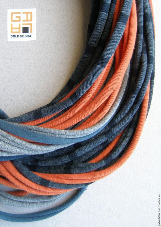 Шарфы и шарфики ручной работы. Ярмарка Мастеров - ручная работа. Купить Трикотажный шарфобус Orange. Handmade. Комбинированный, трикотаж, бохо