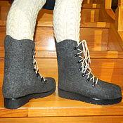 """Обувь ручной работы. Ярмарка Мастеров - ручная работа Ботинки валяные """"Grey boots"""". Handmade."""