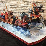 Народные сувениры ручной работы. Ярмарка Мастеров - ручная работа Тройка лошадей. Handmade.