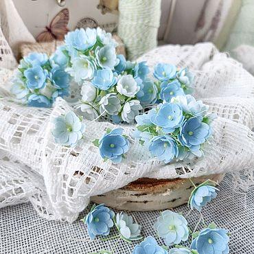 """Материалы для творчества ручной работы. Ярмарка Мастеров - ручная работа Набор мини-цветочков из ткани от """"Pastel Flowers"""", голубые. Handmade."""