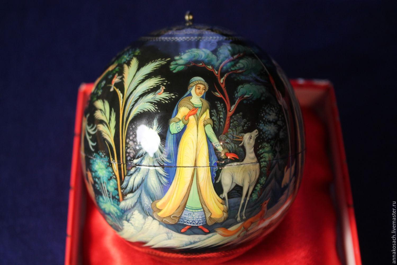 """Новогодний шар с авторской росписью """"Снегурочка"""", Народные украшения, Сызрань, Фото №1"""