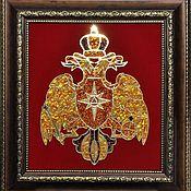 Подарки к праздникам handmade. Livemaster - original item The coat of arms of the EMERCOM of Russia made of amber. Handmade.