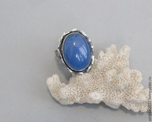 Кольца ручной работы. Ярмарка Мастеров - ручная работа. Купить Кольцо голубой перуанский халцедон. Handmade. Голубой, кольцо серебряное