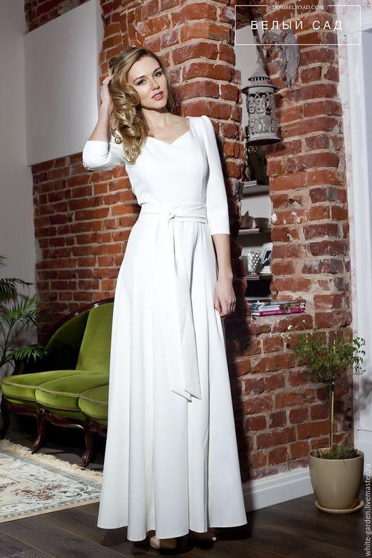 Платья ручной работы. Ярмарка Мастеров - ручная работа. Купить Платье в пол из костюмной вискозной ткани, с поясом. Handmade. Белый