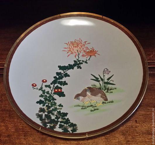 Антикварная великолепная тарелка клуазоне «Перепелки» Япония, конец 19 века