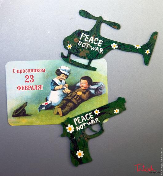 """Магниты ручной работы. Ярмарка Мастеров - ручная работа. Купить """"Peace not war"""" магнит - вертолет с ромашками. Handmade."""