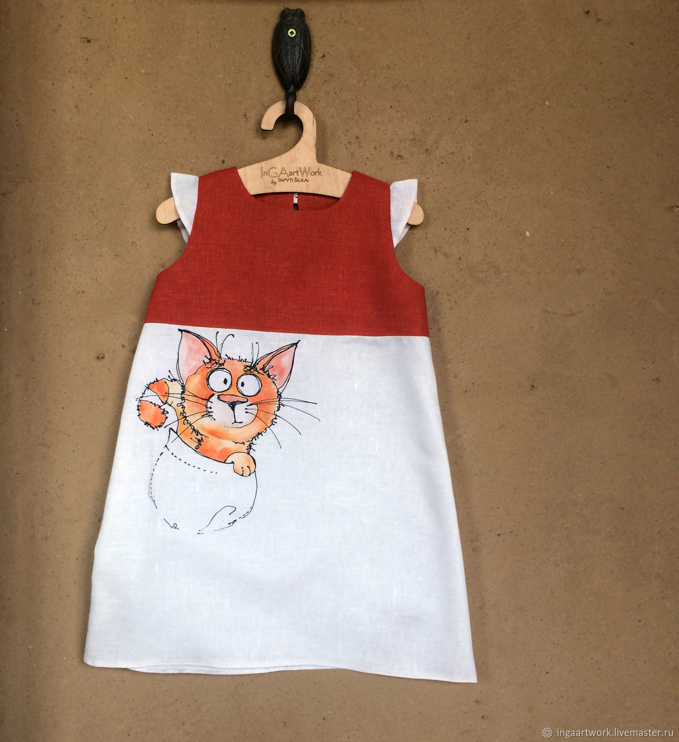 a9c454165837d Clothes for Girls handmade. Livemaster - handmade. Buy Toddler dress with  painted cat Vintage ...