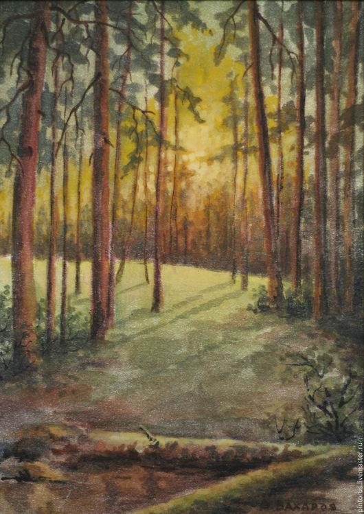 картина , пейзаж, акварель на шёлке, акварель, природа, автор Вячеслав Захаров.