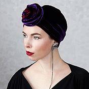 Аксессуары handmade. Livemaster - original item Turban-turban made of velvet with a voluminous knot