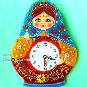 Для дома и интерьера handmade. Livemaster - original item Watch glass, fusing Matryoshka, glass wall clock. Handmade.