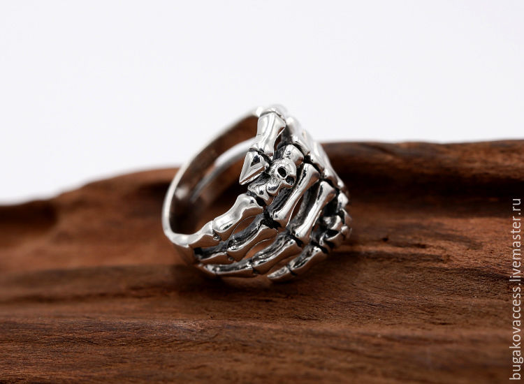 Ring in the shape of a skeleton and a skull of silver 925, Rings, Moscow,  Фото №1
