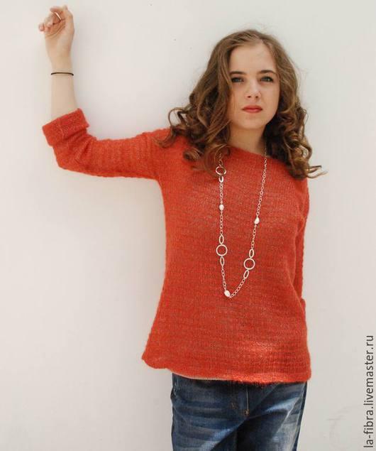 Кофты и свитера ручной работы. Ярмарка Мастеров - ручная работа. Купить Апельсиновый джем Тонкий свитер. Handmade. Рыжий, воздушный