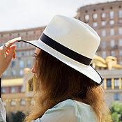 Аксессуары handmade. Livemaster - original item Straw hat Fedora Unisex. color black and white. Handmade.