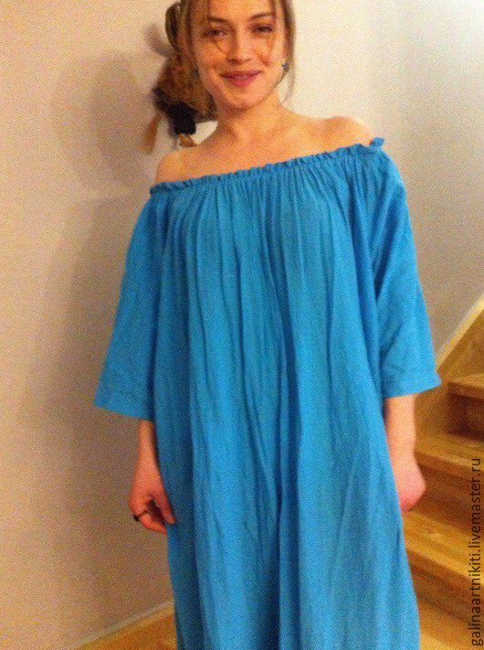 Платья ручной работы. Ярмарка Мастеров - ручная работа. Купить Платье002. Handmade. Голубой, шитье хлопок, барышня, марлёвка