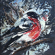 Картины и панно ручной работы. Ярмарка Мастеров - ручная работа Снегирь, картина маслом на искусственной коже.. Handmade.