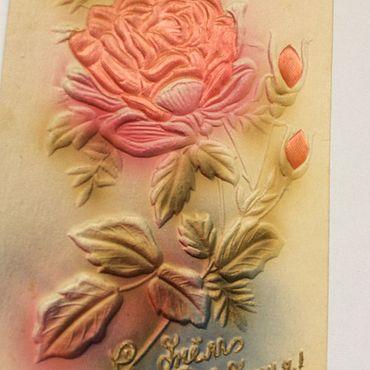 Винтаж ручной работы. Ярмарка Мастеров - ручная работа Редкая открытка Роза Тиснение тканью 50-е годы. Handmade.