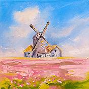 Картины и панно handmade. Livemaster - original item Painting Field with tulips Landscape Oil. Handmade.