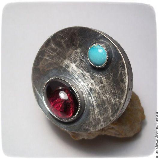 """Кольца ручной работы. Ярмарка Мастеров - ручная работа. Купить Гранат и бирюза кольцо """"Парад планет"""". Handmade. Комбинированный, гранат"""