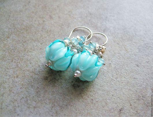Серьги ручной работы. Ярмарка Мастеров - ручная работа. Купить Серьги Tiffany Blue серебро жемчуг аквамарин халцедон. Handmade.
