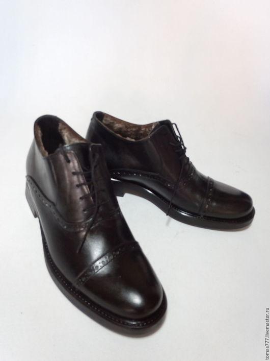 """Обувь ручной работы. Ярмарка Мастеров - ручная работа. Купить Копия работы мужской ботинок с мехом, """"Оксфорд чёрный"""". Handmade."""