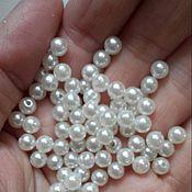 Материалы для творчества handmade. Livemaster - original item Spacer beads round 5 mm cream - 100 PCs plastic pavé pearl. Handmade.